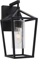 Outdoor Wall Light - Black With Seeded Glass - New! in Naperville, Illinois