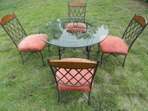 Table 4' wide Glass top, beveled edge, 4 Chairs, metal base in Camp Pendleton, California