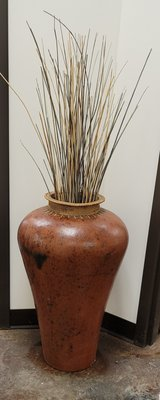 Large Clay Vase with Wicker Rim in Naperville, Illinois