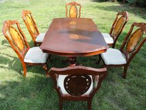 Dining Table, Clawfoot, 6 Chairs, 2 leafs, Cherrywood in Camp Pendleton, California