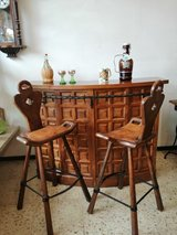 60s 70s Spanish Solidwood COUNTER bar counter home bar high table bar table +2 bar stool deliver... in Wiesbaden, GE