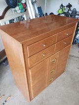 Vintage solid wood dresser with matching head board in Naperville, Illinois