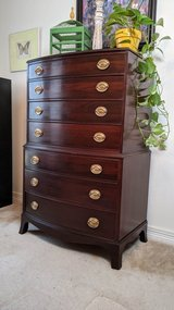 Federal Style Bow Front Mahogany Highboy Dresser / Chest of Drawers in Kingwood, Texas