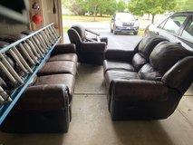 leather couch loveseat and chair in Naperville, Illinois