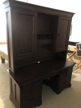 $150 obo Ashley Furniture Walnut Desk - 2 Piece - very heavy with spot for PC and built in power... in Kingwood, Texas