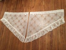 Ivory Lace Crochet Oblique Window Curtains Sheer Frilled in Great Lakes, Illinois