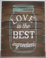 """Planked Wood Wall Art """"Love is the Best Ingredient"""" over a Mason Jar Sign in Joliet, Illinois"""