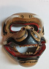 Hand Carved-Hand Painted Balinese Monkey Mask. Articulated jaw and Horse hair. in Conroe, Texas