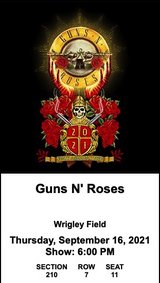 GUNS N' ROSES at Wrigley Field, Thurs. 9/16 in Naperville, Illinois