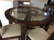 Solid wood height table and chairs/stools dark brown reduced was 115.00, text me if interested 8... in Kingwood, Texas