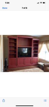 Custom Made 3 Piece Red Entertainment Center in Conroe, Texas