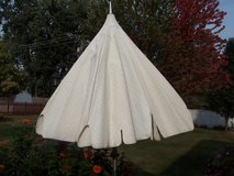 LARGE PATIO UMBRELLA WITH BASE AND STORAGE COVER in Naperville, Illinois