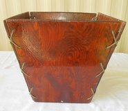 Antique Wood Leather Laced Trash Basket in Alamogordo, New Mexico
