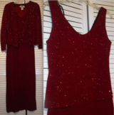 Sz 6 Ronnie Nicole Long Formal Burgundy Evening Dress w/Jacket in Naperville, Illinois
