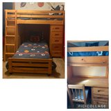 Twin Loft Bed with desk, chest of drawers, and mattresses in Naperville, Illinois