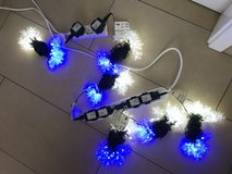 220 volt blue and clear snowflake LED lights. 6 strands in Ramstein, Germany