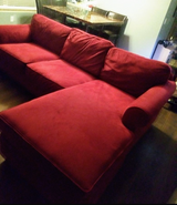 Soft Red Velvet Couch - Pretreated against water/stains etc. in Camp Pendleton, California
