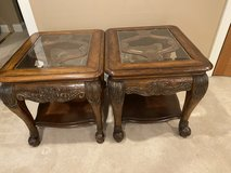 Carved wood glass top end tables in Naperville, Illinois