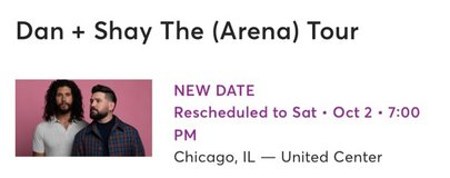 Dan and Shay Tickets (4) in Naperville, Illinois