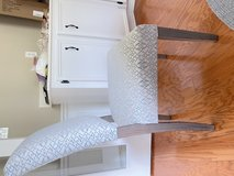 4 blue/grey upholstered dining room chairs in Conroe, Texas