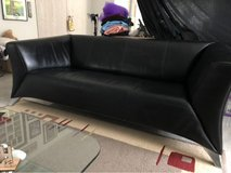 Black Rolf Benz Leather Couch in Wiesbaden, GE