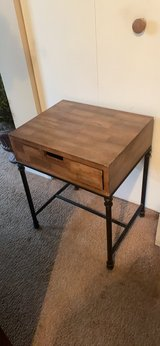 wooden top metal base night stand. in Naperville, Illinois