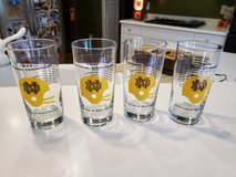 """""""4"""" NOTRE DAME 1943 1947 1966 1977 NATIONAL CHAMPIONS FOOTBALL GLASSES in Brookfield, Wisconsin"""