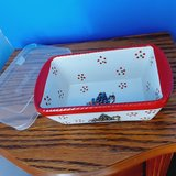 Ceramic christmas bread dish with lid ( temptations) in Kingwood, Texas