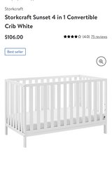 White baby crib, mattress and mattress cover. in Kingwood, Texas