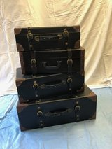 Stackable Leather Luggage (4) in Naperville, Illinois