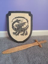 Wooden shield and sword of a Royal Knight in Fort Campbell, Kentucky