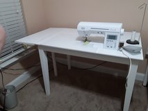 Sewing table year old  white 4ft,5 3/4[long x30w hardwood in Camp Lejeune, North Carolina
