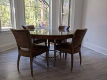 """Hooker L'Usine 54"""" Dining Table with Custom Glass Top in Beaufort, South Carolina"""