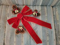 """17"""" Bright Red Bow with 3 Pine Cones & Berries picks to make a Wreath in Warner Robins, Georgia"""