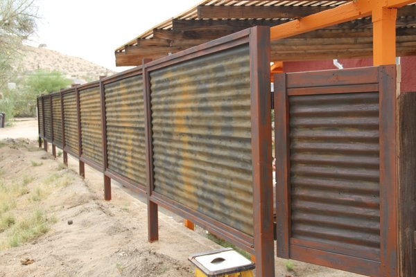 Rusted corrugated metal fence Wood Custom Made Corrugated Metal Wood Fence 29 Palms Bookoo Custom Made Corrugated Metal Wood Fence