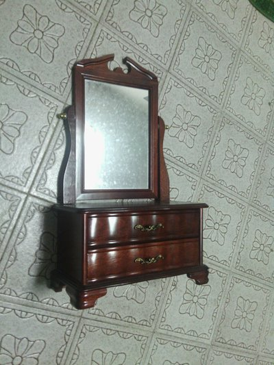 Vintage Two Drawer Shaving Dresser With Mirrors Wood Vanity Mirror