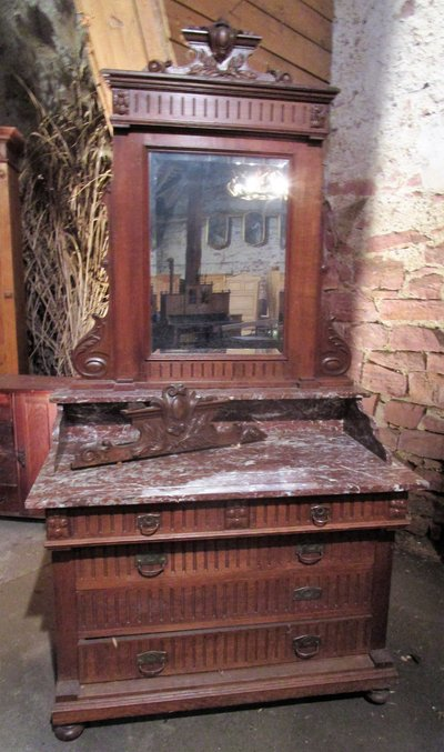 Very Nice Antique Dresser With Marble Top And Mirror From The Mid
