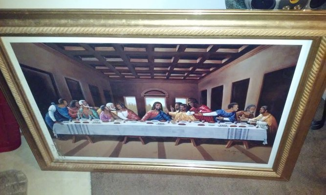 Last Supper African American 43 X 30 With 2 Side Mirrors Gold