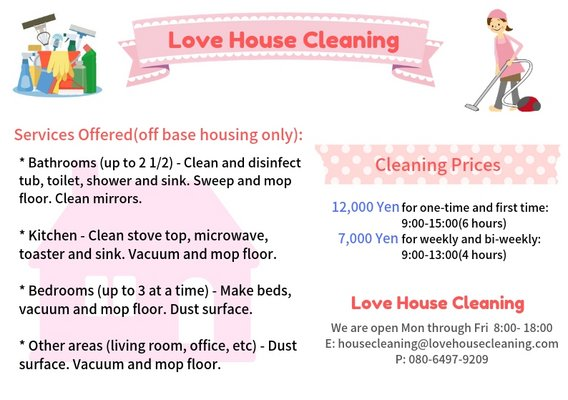 Love House Cleaning   Cleaning Services for sale on Okinawa