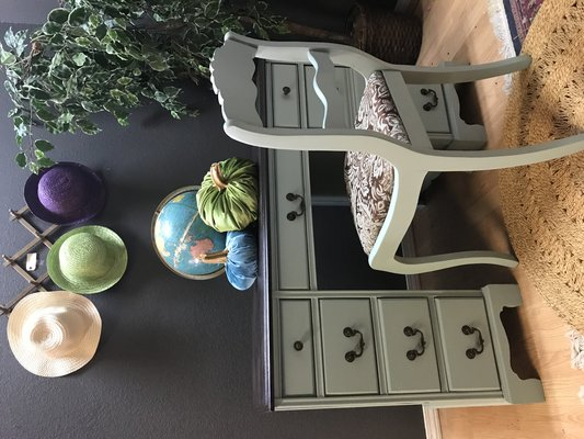 Admirable Vintage Desk Painted In Duck Egg Blue Dark Stained Top With Machost Co Dining Chair Design Ideas Machostcouk