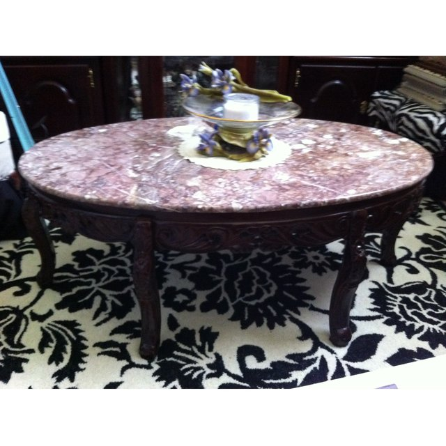 Oval marble coffee table cherry wood furniture home for Oval cherry wood coffee table