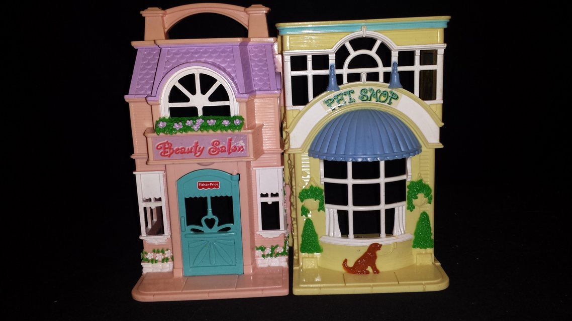 Polly Pocket Beauty Salon Pet Shop House 2001 Building Fisher Price Mattel T26