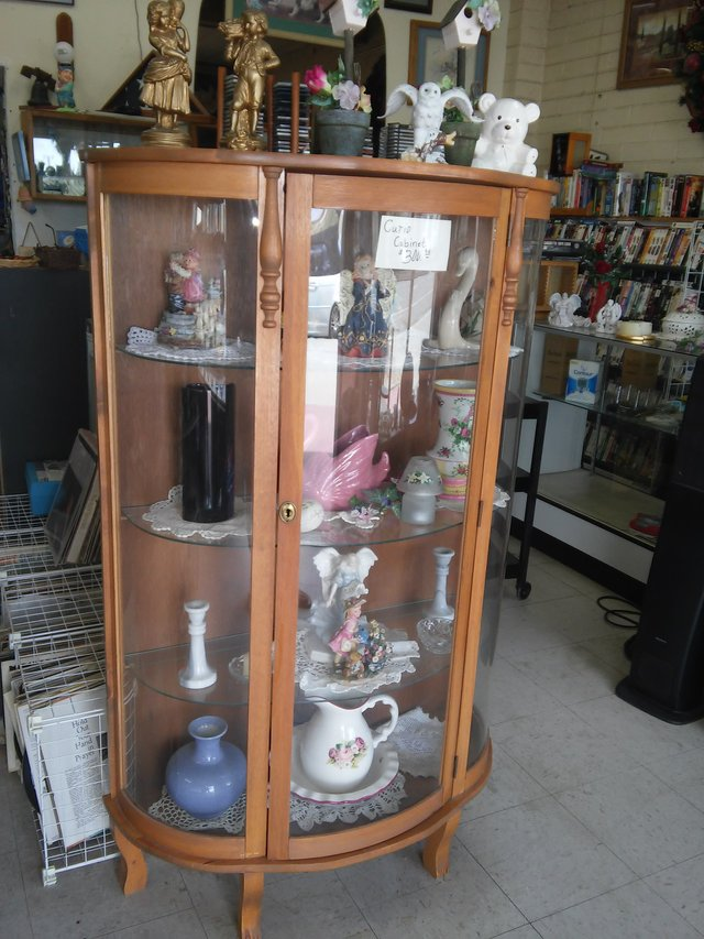 All Wood Curio Cabinet Rounded Glass In 29 Palms   All Wood Curio Cabinet  Rounded Glass