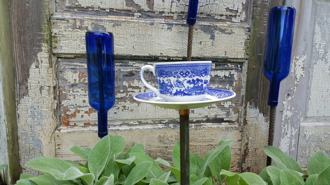 bird feeder  tea cup  upcycled garden decor  blue willow, Garden idea