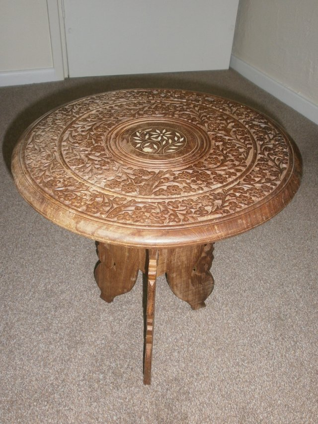 VINTAGE, INDIAN, HAND CARVED, INLAID, FOLDING,DECORATIVE, SIDE TABLE/