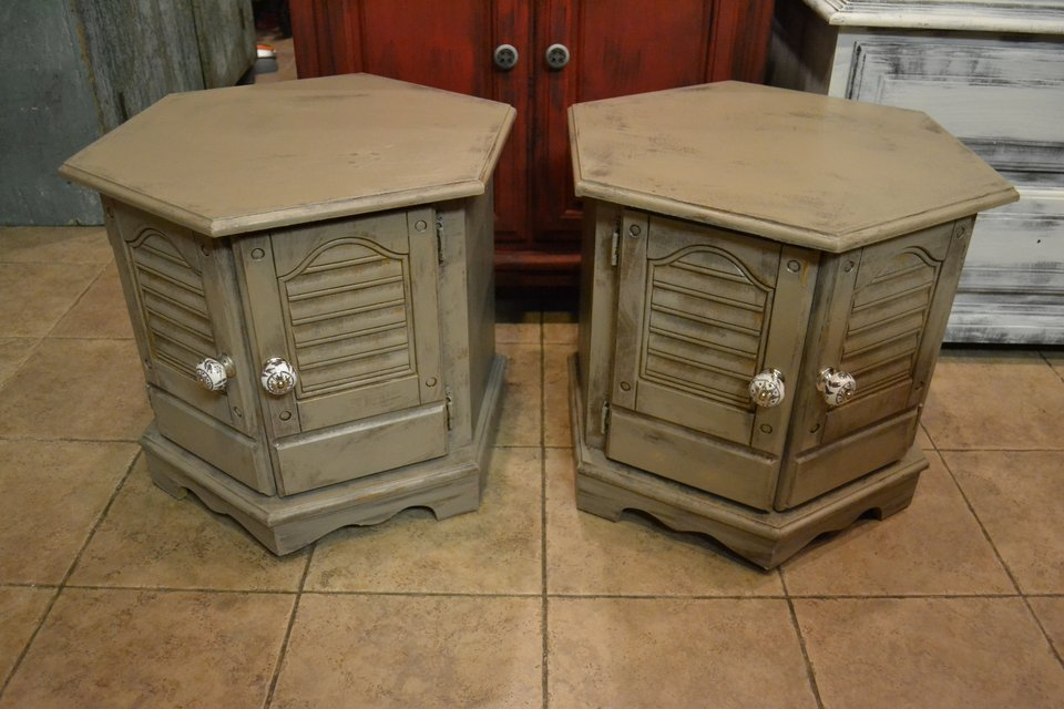Shabby Rustic Distressed End Tables Nightstands With Storage Furniture Home By Owner For