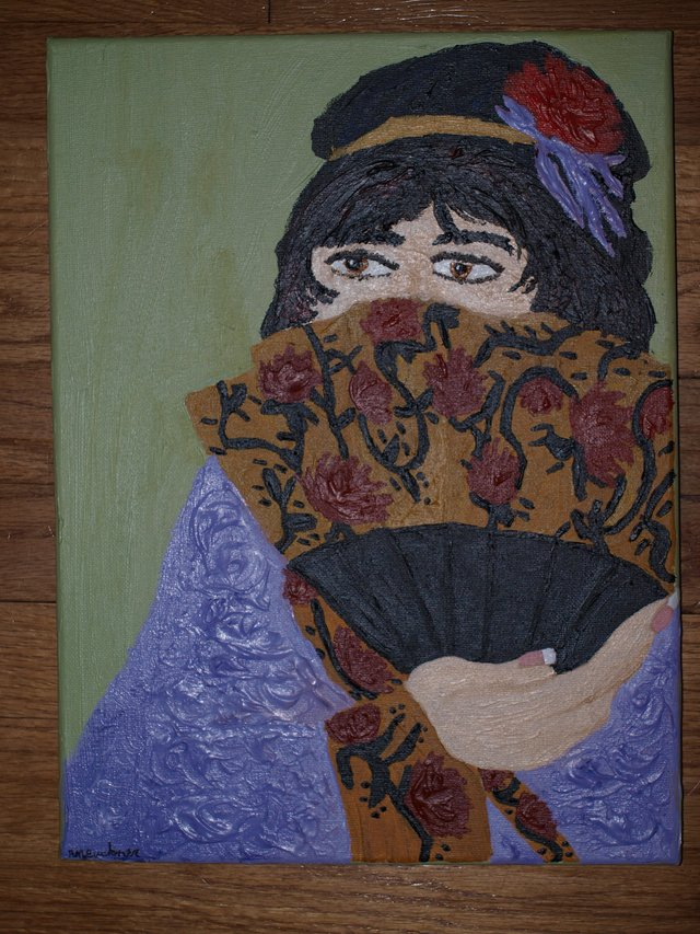 Asian lady with fan acrylic arts crafts for sale on for Plexiglass arts and crafts