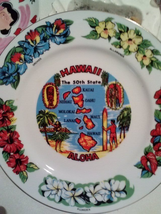 HAWAII 50th State Hand Painted 21 kt Gold Trim Decorative Plate in Alamogordo & HAWAII 50th State Hand Painted 21 kt Gold Trim Decorative Plate ...