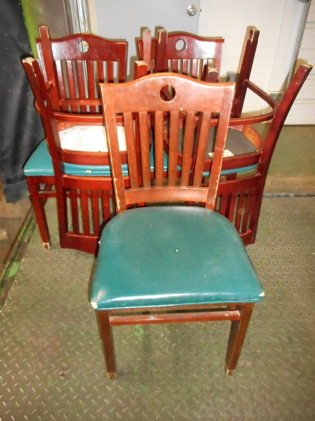 34 Shelby Williams Slat Back With Cutout Green Vinyl Seat Dr Chairs Furniture Home By