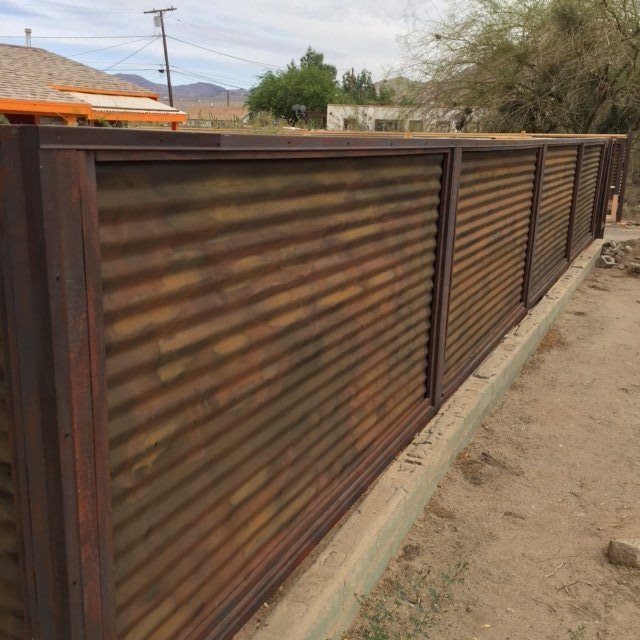 rusted corrugated metal fence. Interesting Corrugated CUSTOM MADE CORRUGATED Metal U0026 Wood Fence  For Rusted Corrugated T